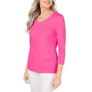 Karen Scott Plus Size Cotton V-neck T-shirt